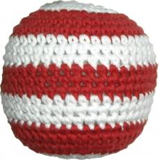 Gehäkelter Ball, rot/weiß