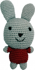 Hand-crocheted rabbit, grey/red