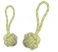 Wurfball mit Schlaufe grau-gelb gestreift, 2 verschiedene Größen