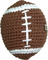 Hand-crocheted football, brown