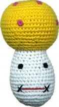 Gehäkelter Pilz, gelb/weiß