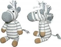 Gehäkeltes Zebra, grau-weiß