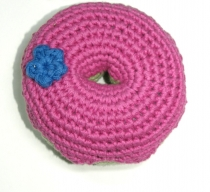 Hand-crocheted donut, pink