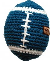 Hand-crocheted football, blue