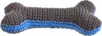 Hand-crocheted bone, cool gray / azure blue