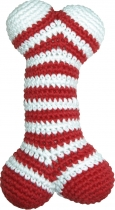 Hand-crocheted bone, red/white