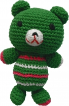 Hand-crocheted teddy bear, green/pink/white