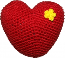 Hand-crocheted heart, red